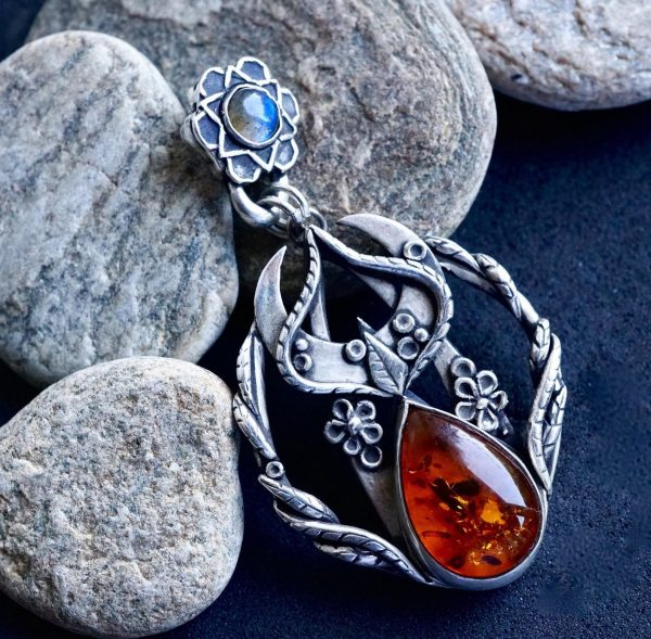 Amber and Moonstone pendant