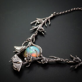 Silver and Fire Opal Pendant